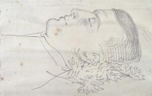 view The Hon. Hubert Howard on his deathbed. Pencil drawing by George Howard, 9th Earl of Carlisle.