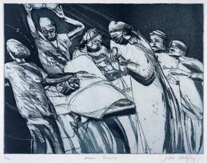view Royal Liverpool University Hospital: a surgical operation. Aquatint by Julia Midgley, 1998.