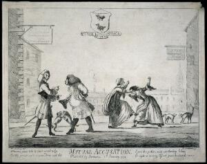 view Two medicine vendors, their wives, cats and dogs arguing about the merits of their antiscorbutic pills. Etching by J. Bretherton after H.W. Bunbury, 1774.