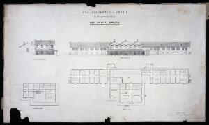 view Highlands of Brazil Sanatorium, São Paulo: elevations and plans. Lithograph, 1886.