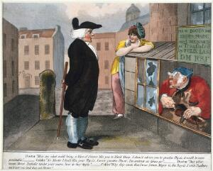"""view A physician thinking that a cobbler's use of the title """"D.M."""" means that he is a Doctor of Medicine. Coloured etching."""