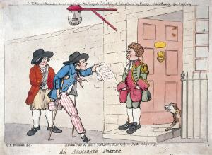 view Two disabled veteran sailors, employed by an admiral as messengers, delivering a letter to the servant at the front door of a town-house. Coloured etching after G.M. Woodward, 1790.