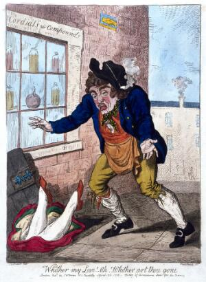 view A woman falling headfirst through an open cellar-door outside a pharmacy, and a man expressing his concern. Coloured etching by I. Cruikshank after G.M. Woodward, 1798.