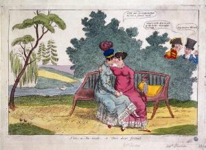 view Lady Strachan and Lady Warwick making love in a park, while their husbands look on with disapproval. Coloured etching, ca. 1820.