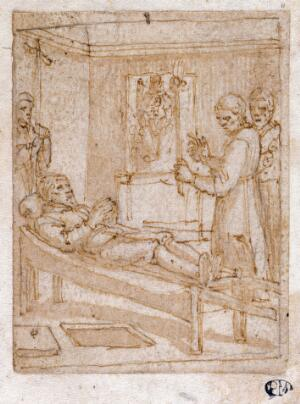 view A man brought on a bier before an altar. Drawing attributed to Pieter de Jode I.