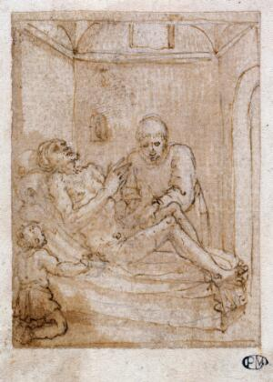 view A man's body receiving the ministrations of a healer. Drawing attributed to Pieter de Jode I.
