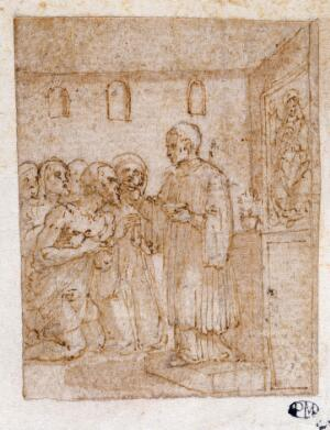 view A man kneeling before an altar and receiving the sacrament from a priest. Drawing attributed to Pieter de Jode I.