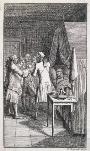 view Doctors disputing, the patient is ignored. Etching by D.N. Chodowiecki, 1781.