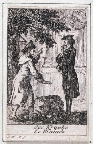 view Two men in a graveyard, one of them pointing to an ornate stone tomb, possibly to indicate the whereabouts of a third man to the second one. Etching attributed to J.W. Meil, 17--.