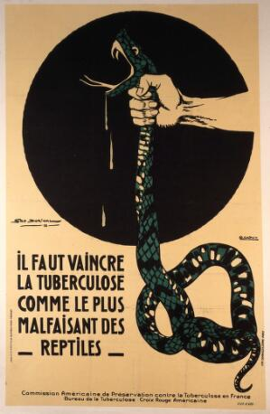 view The strangling of a poisonous snake, representing the crushing of tuberculosis. Colour lithograph after G. Dorival and G. Capon, ca. 1918.