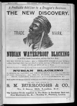 view Advert for Nubian Blacking, Chem & Drg.1879.