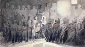 view Skeletons (of Capuchin friars?) preserved in a crypt. Wash drawing.