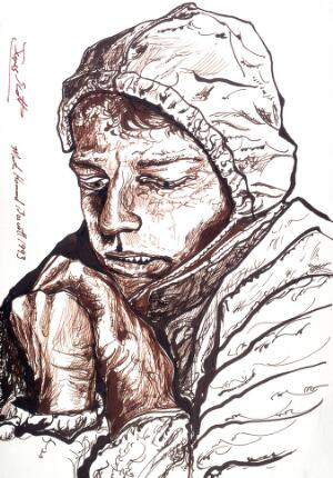 view James Scott, Australian medical student, lost in the Himalayas for forty-three days without food. Drawing by Martin Howard Boscott, 1993.