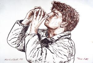 view James Scott, Australian medical student lost in the Himalayas for forty-three days without food, drinking from a snowball to rehydrate in the afternoon sun. Drawing by M. H. Boscott, 1993.