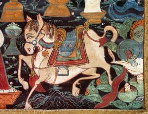 view Attributes of rDo-rje Kon-btsun De-mo, protector of Tibet and