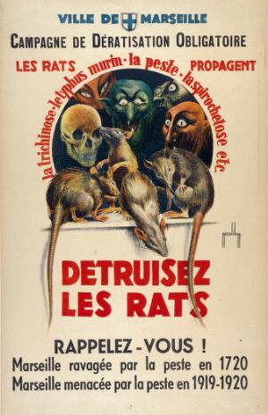 view Rats, and monsters representing death and diseases attributed to rats. Colour lithograph by O. Nicolitch, 1920.