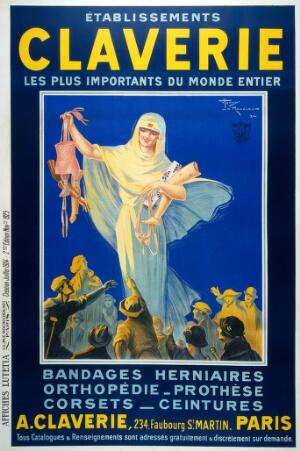 view A nurse (?) presenting trusses, corsets and artificial limbs to those who need them. Colour lithograph by Henry Le Monnier, 1924.