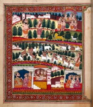 view The mahatmya of the second adhyaya. The bottom third of the painting depicts the frame story of Devasusara of Purana. The top two-thirds illustrate the embedded story of Gadia the goatherd: one of his goats chases away a lion, the ascetic Bala explains the meaning of the events, and Gadia and his animals ascend to Visnu's celestial dwelling Vaikuntha in their divine bodies