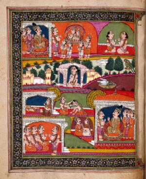 view The mahatmya of the fifth adhyaya. The bottom half of the painting depicts Pingala's life as a Brahman, his argument with his wife and his death by poisoning. The upper half illustrates the narrative of their subsequent births as birds: they fight in an ascetic's skull in a cremation ground and are given new divine bodies. In the new form they are taken to the court of Dharmaraja, the judge of the actions of mortals