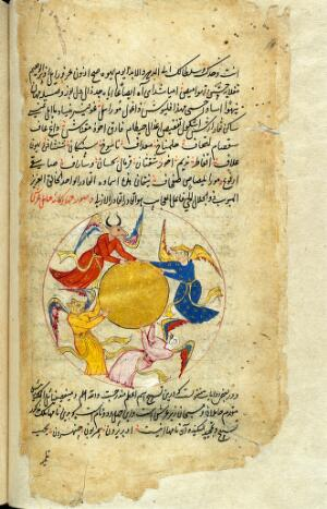 view The four supporters (angels) of the celestial throne, detail, from Persian Manuscript 373. One has the head of a human while the other three have heads of an eagle, a lion and an ox.