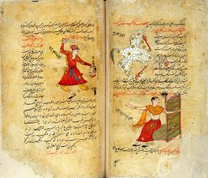 view Constellations of Perseus (left), Cygnus and Cassiopeia (right) from Persian Manuscript 373