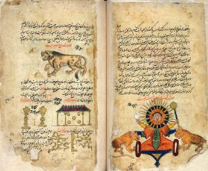 view The Sun (right), Leo and two lunar mansions (left) from Persian Manuscript 373
