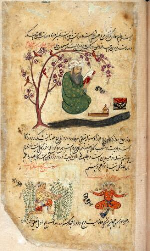 view Mercury, sitting reading a book under a tree in bloom with birds in its branches, surrounded by the attributes of the profession of the scribe from Persian Manuscript 373