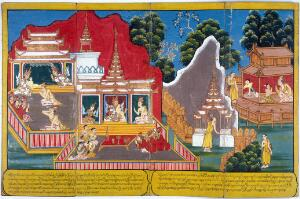view (Far left) The ascetic Kaladevala and the king pay