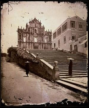 view Macao, Kwangtung province, China. Ruin of church, Macao, China, 1872.
