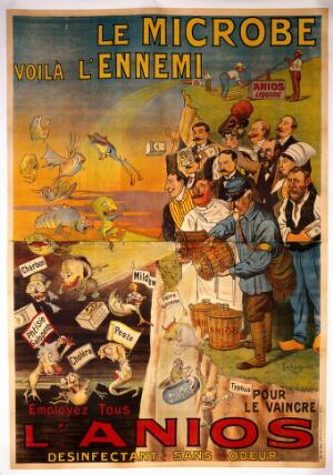 view People using Anios disinfectant to destroy microbes representing infectious diseases. Colour lithograph by G. de Trye-Maison, ca. 1910.