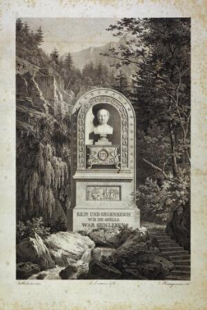 view Bad Kreuth, Bavaria: the healing spring, and monument to King Maximilian I of Bavaria. Lithograph by F. Lacroix, 1828, after C. Heinzmann after J.-B. Métivier.