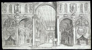 view The church of San Lorenzo, Florence, with funerary decorations to mark the death of King Henri IV of France. Etching, 1610.