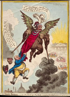 "view The ""Ministry of all the Talents"", personified by Charles James Fox, promising to convey John Bull towards the promised land, but really to hell. Coloured etching by James Gillray, 1806."
