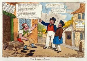 view Nonsense talked by a cobbler compared to the talk of a parson and a surgeon-apothecary. Coloured etching attributed to C. Williams, ca. 1812.