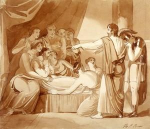 view King Ahaziah lies sick after having fallen through an upper window: Elijah foretells his death. Drawing by H.P. Bone.