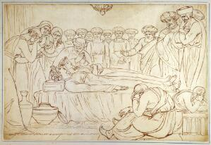 view A young man and a young woman lying dead side by side, while they are mourned by men wearing turbans. Drawing attributed to Joshua Cristall.
