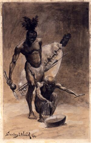 view The prophecy of Masuka: an African medicine man or shaman of the Nkose watching the future in a bowl. Painting by Stanley Wood, 1894.