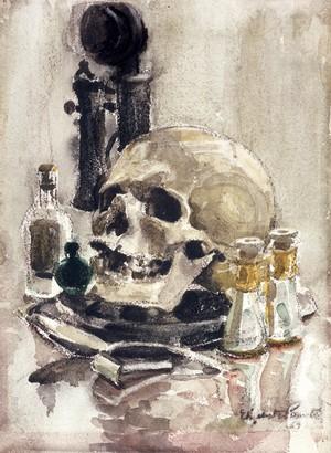 view The five senses and death. Watercolour by Elizabeth Painter, 1957.