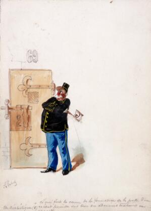 view The Panama Canal: for an enquiry into its financing, a policeman guards a prison-cell in which some of the principals are remanded. Watercolour drawing by H.S. Robert, ca. 1897.