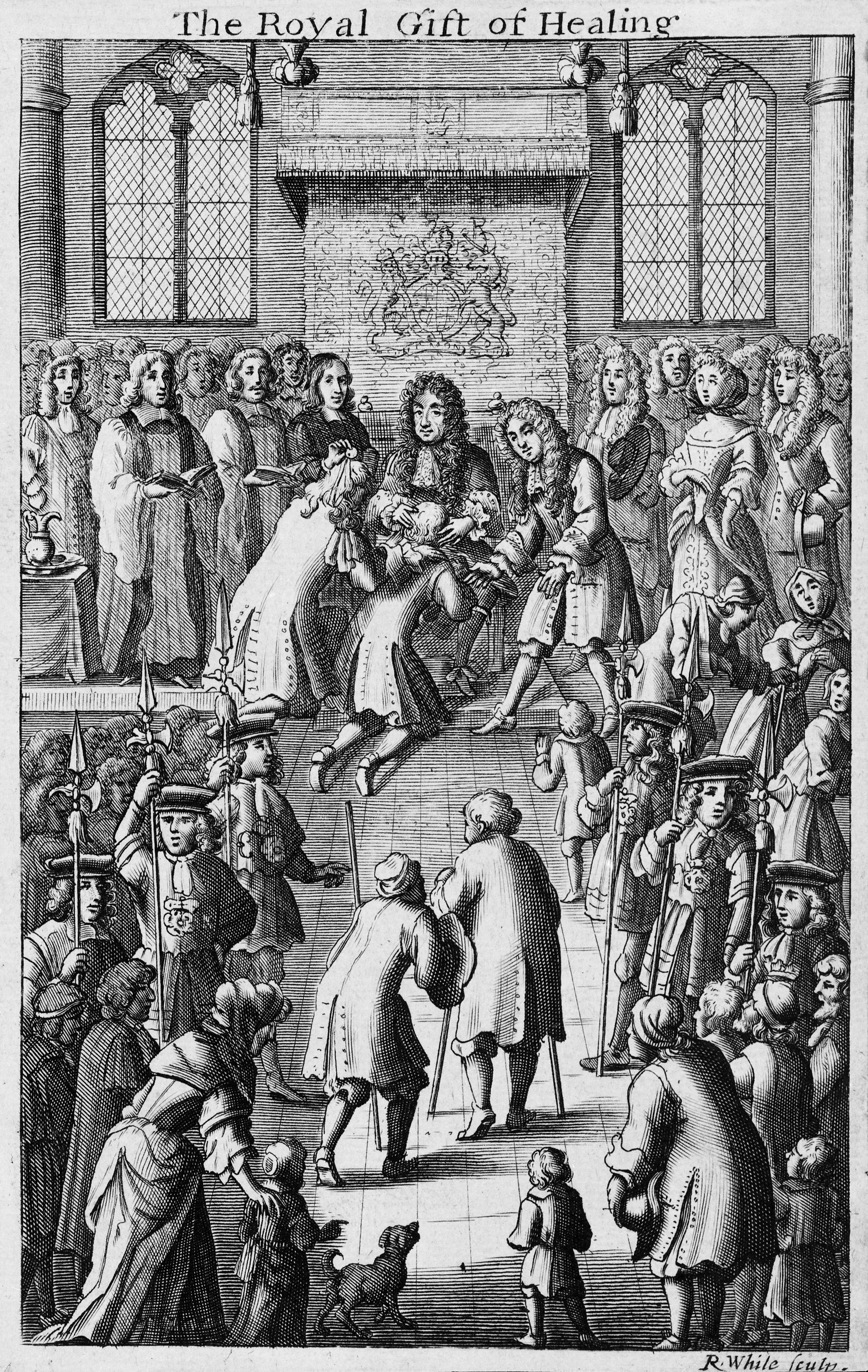 Charles II touching a patient for the king's evil ...