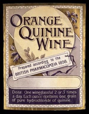 view LABEL: Orange Quinine Wine. Prepared accord