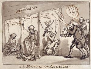 view Bethlem Hospital, London: the incurables being inspected by a member of the medical staff, with the patients represented by political figures. Drawing by Thomas Rowlandson, 1789.