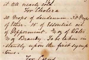 view WMS 3339, For cholera: '30 drops of laudanum