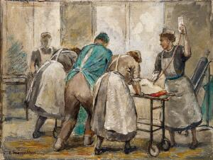 view Operating room staff wheeling a patient back into a ward after an operation. Oil painting by Ethel Macmillan, ca. 1940.