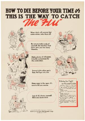 view Ways to catch the flu. Colour lithograph after designs by Coggin, 194-.