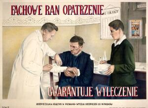 view A doctor bandaging a man's arm. Colour lithograph after Surow, 1929.