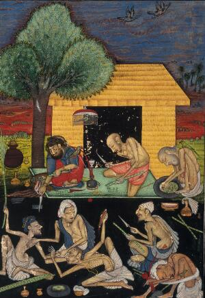 view Ascetics preparing and smoking opium outside a rural dwelling in India. Gouache painting by a follower of Chokha, ca. 1810.