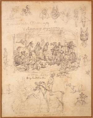 view Interior of a hospital for horses. Drawing by G. Cruikshank,1835.