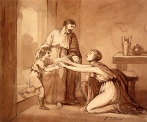 view Elijah restores the widow's son to his mother, who greets him with open arms. Drawing by R.T. Bone, ca. 1811.