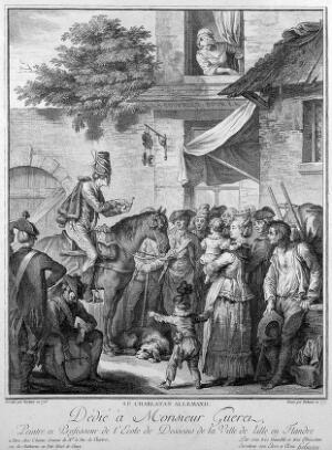view A German itinerant medicine vendor on horseback selling his wares. Engraving by I. Helman, 1777, after J. Bertaux, 1776.